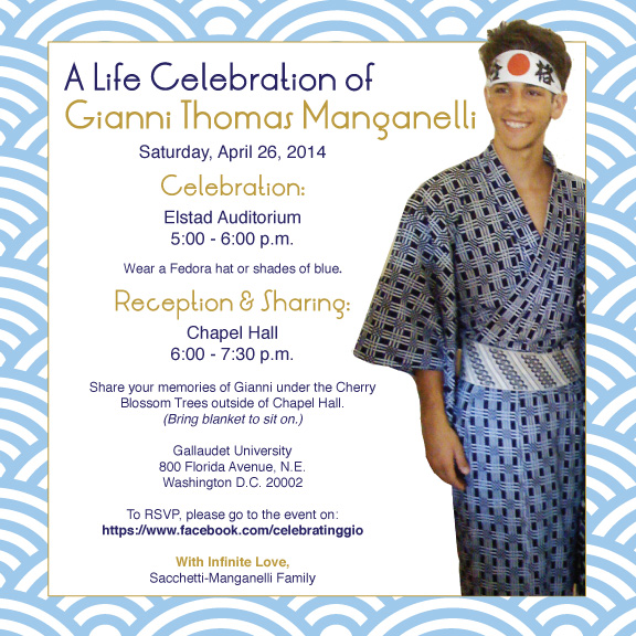 Join us in celebration of Gianni Manganelli (WASHINGTON, DC)